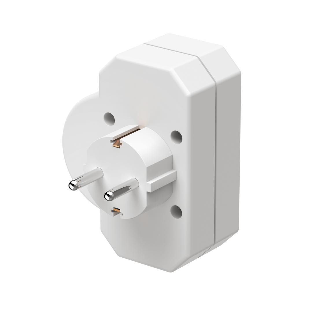hama.com   00047756 Hama 3-Way Multi-Plug, 2 Euro/1 socket with ...