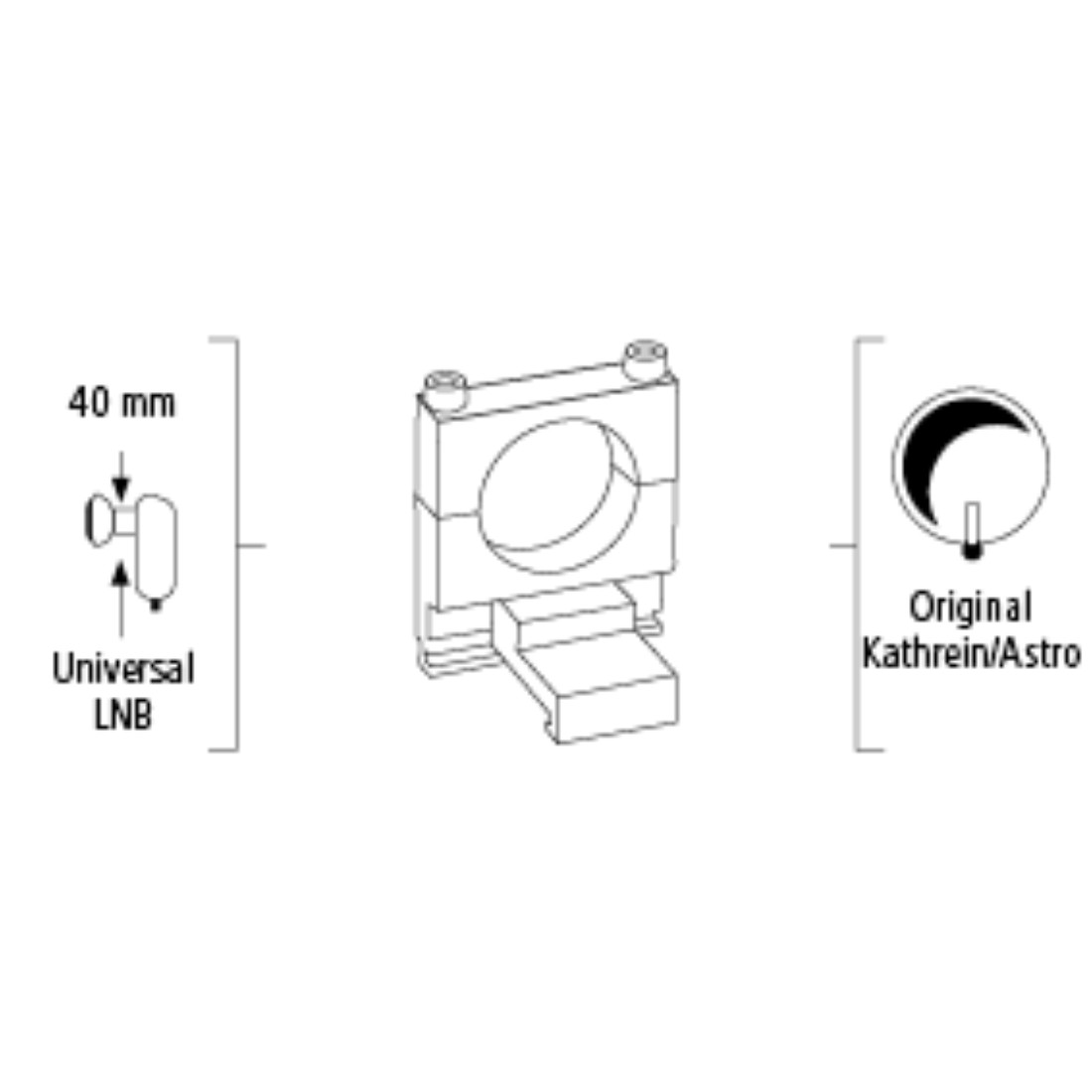 stx High-Res Line Drawing - Hama, Universal LNB Adapter for Kathrein and Astro SAT Antennas