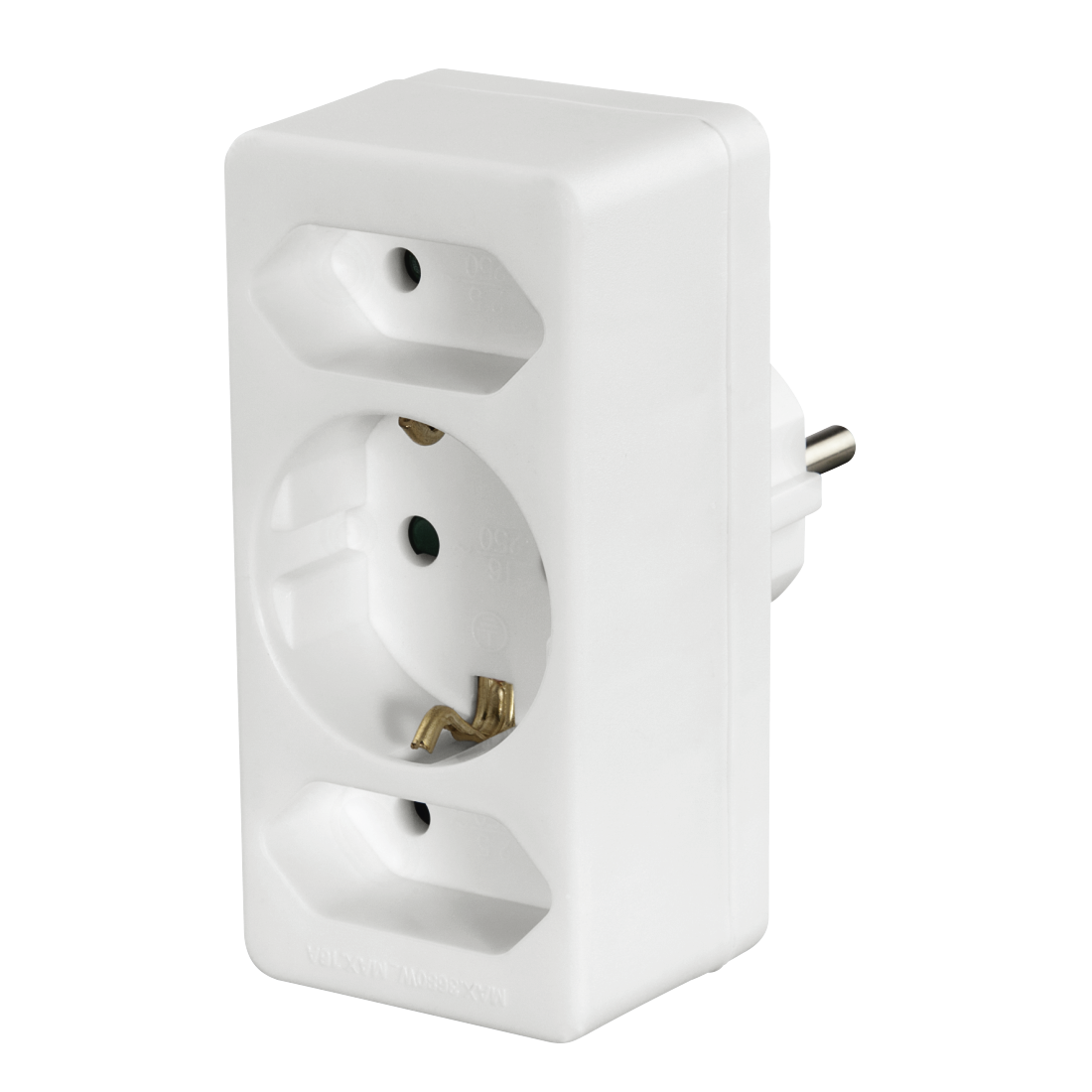 hama.com | 00108844 Hama 3-Way Multi-Plug, 2 Euro sockets/1 socket ...