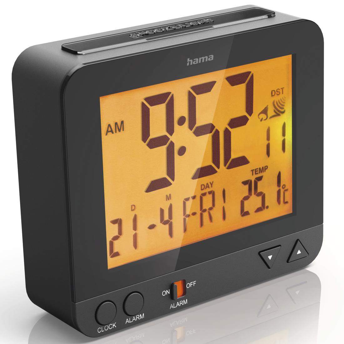 00113966 Hama Rc 550 Radio Controlled Alarm Clock With Night Lamp Light Function