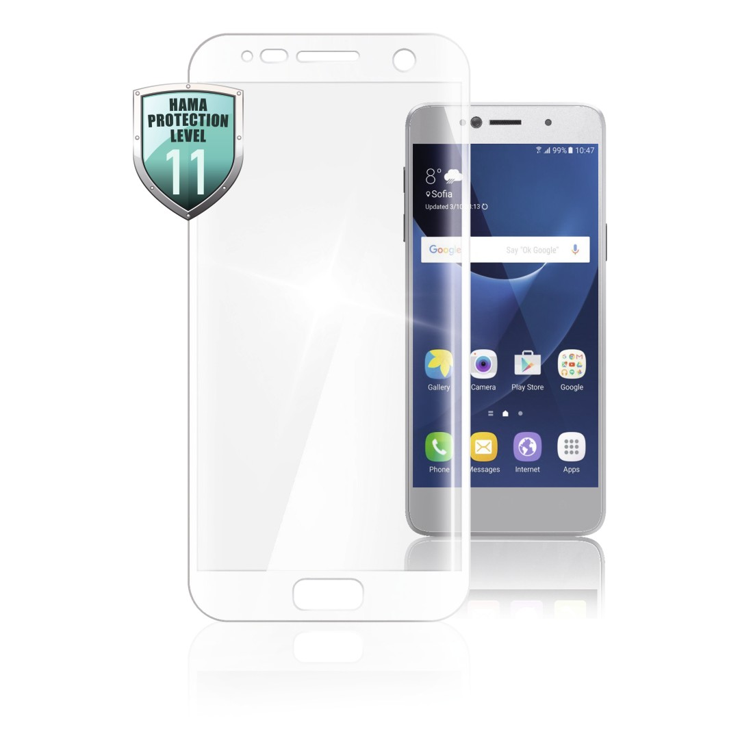 abx High-Res Image - Hama, 3D Full Screen Glass Protector for Samsung Galaxy S7, white