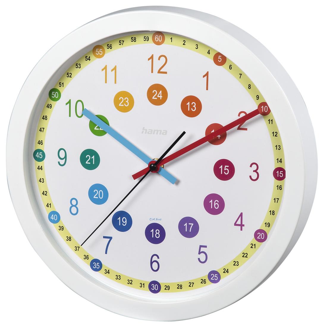 00176917 Hama Easy Learning Childrens Wall Clock Diameter 30 Cm