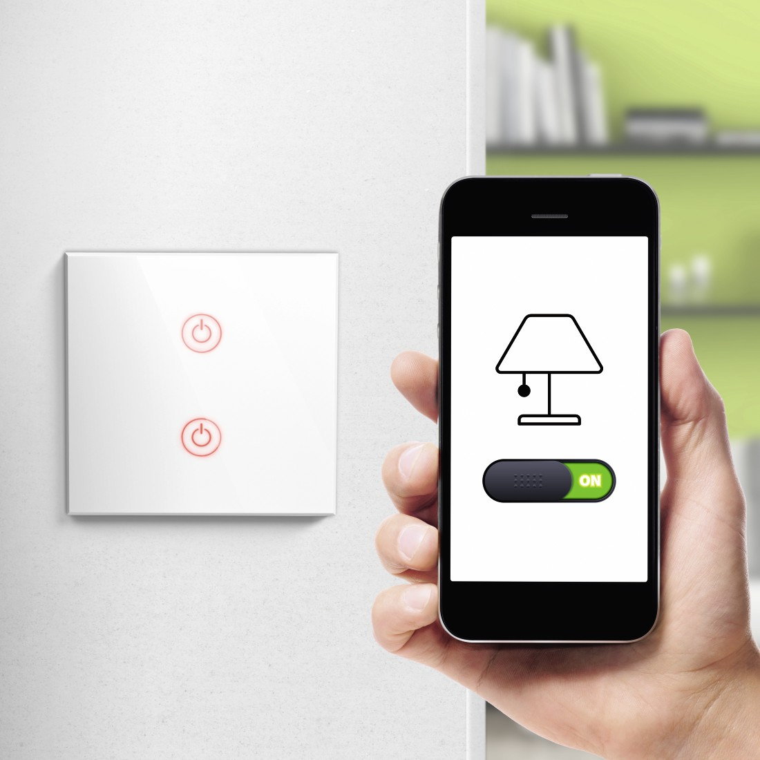 awx High-Res Appliance - Hama, WiFi Touch Wall Switch, Flush-mounted, white
