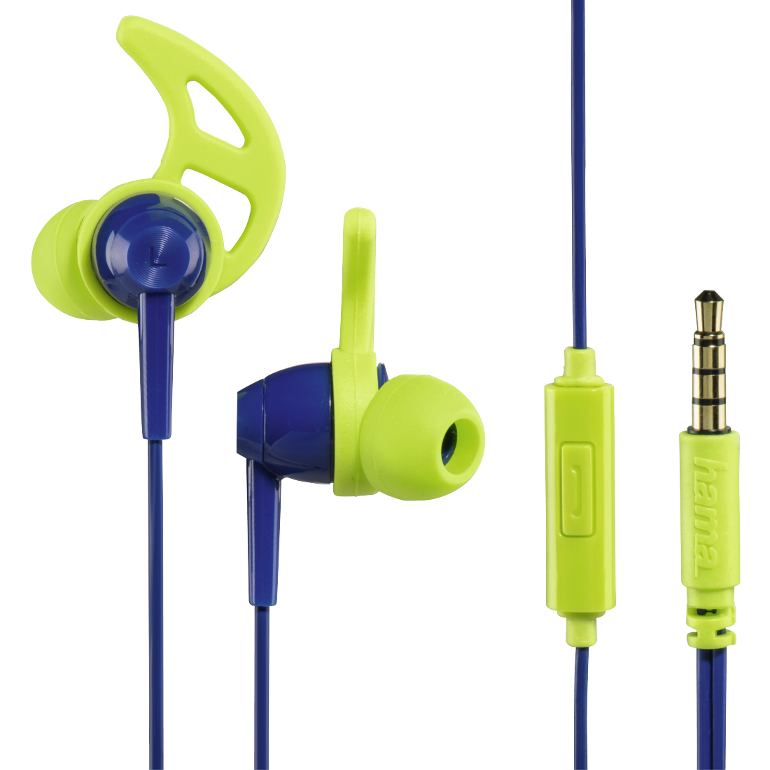 "abx High-Res Image - Hama, ""Action"" In-Ear Stereo Headphones, blue/green"